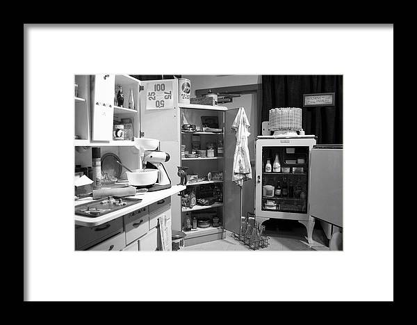 1940ish Kitchen Framed Print by Thomas Woolworth