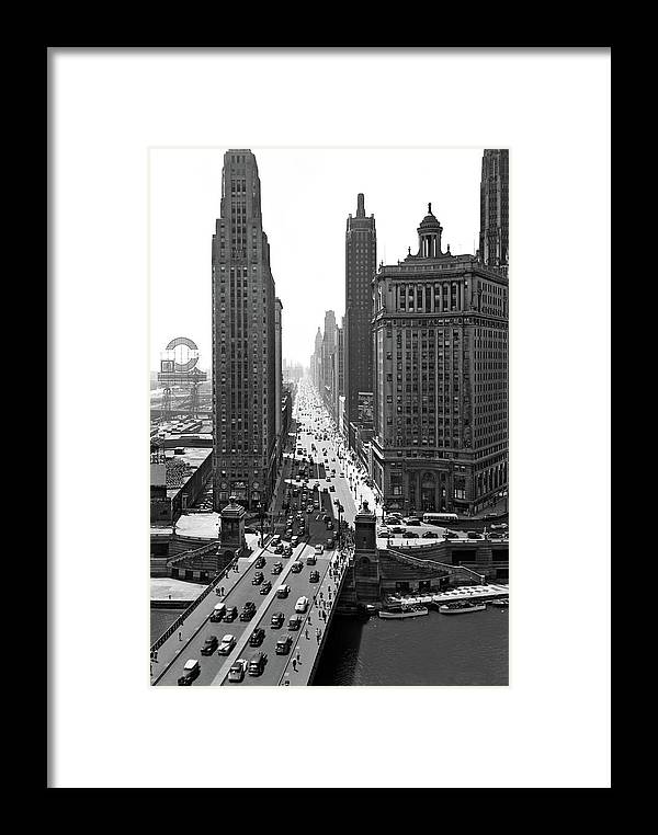 Photography Framed Print featuring the photograph 1940s Downtown Skyline Michigan Avenue by Vintage Images