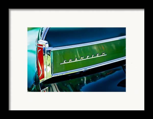 1941 Studebaker Champion Coupe Framed Print featuring the photograph 1941 Sudebaker Champion Coupe Emblem by Jill Reger