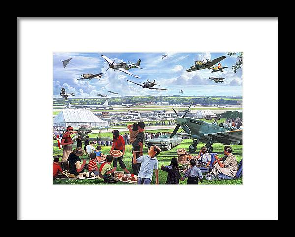 Flying Framed Print featuring the digital art 1950 Airshow by MGL Meiklejohn Graphics Licensing