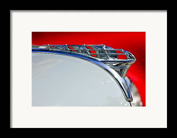 1950 Plymouth Coupe Framed Print featuring the photograph 1950 Plymouth Hood Ornament 3 by Jill Reger