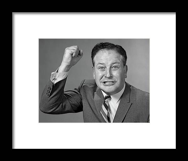 Photography Framed Print featuring the photograph 1950s 1960s Portrait Of Angry Man by Vintage Images