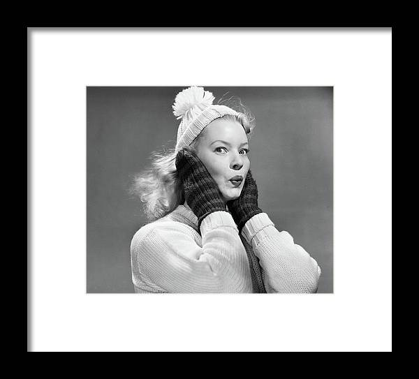 Photography Framed Print featuring the photograph 1950s Young Woman Pursing Lips Hands by Vintage Images