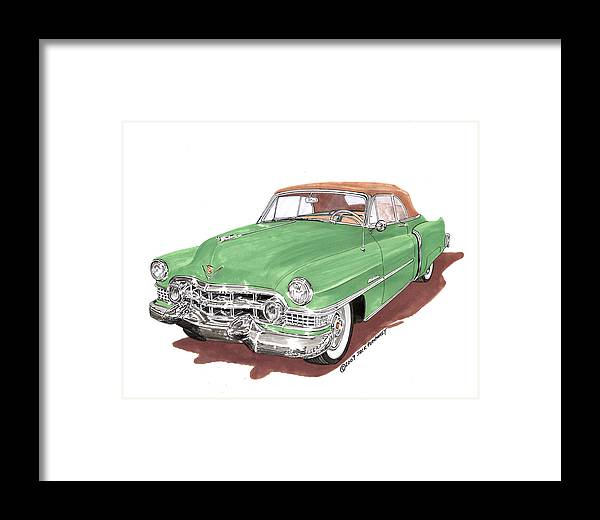 Classic Car Paintings Framed Print featuring the painting 1951 Cadillac Series 62 Convertible by Jack Pumphrey