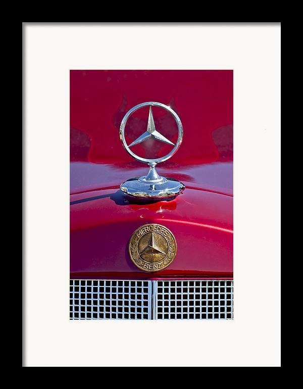 1953 Mercedes Benz Framed Print featuring the photograph 1953 Mercedes Benz Hood Ornament by Jill Reger
