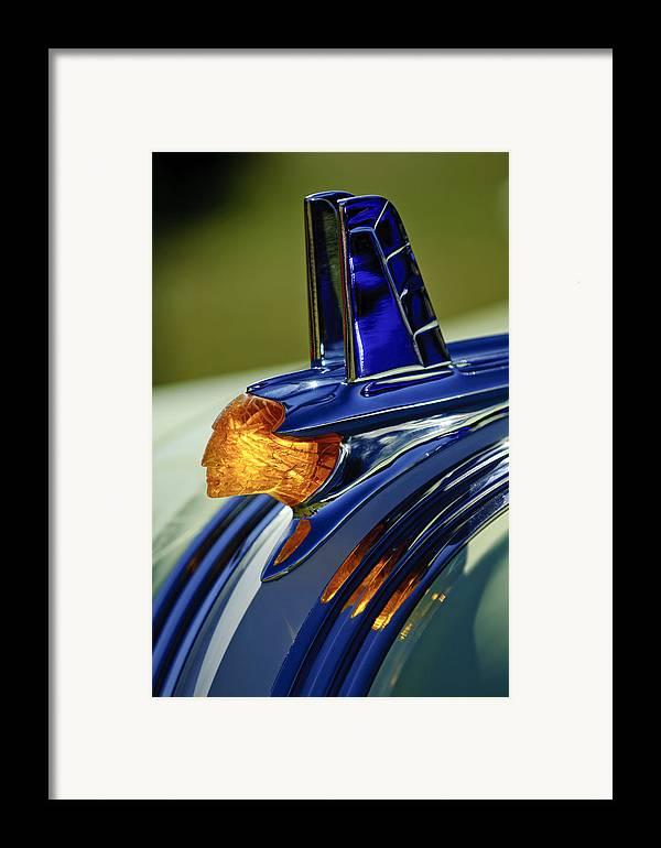 1953 Pontiac Framed Print featuring the photograph 1953 Pontiac Hood Ornament 3 by Jill Reger