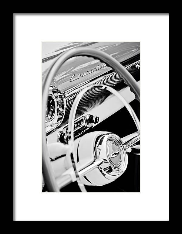 1954 Chevrolet Belair Steering Wheel Emblem Framed Print featuring the photograph 1954 Chevrolet Belair Steering Wheel Emblem -1535bw by Jill Reger