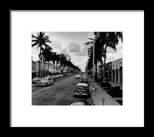 1954 Framed Print featuring the photograph 1954 Miami Beach Lincoln Road by Retro Images Archive