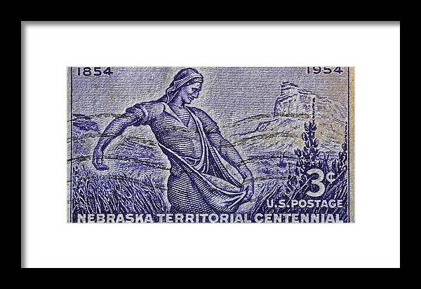 1954 Framed Print featuring the photograph 1954 Nebraska Territorial Stamp by Bill Owen