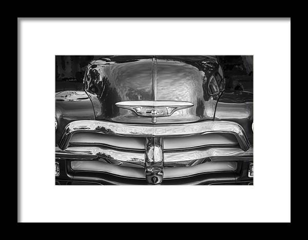 Hood Ornament Framed Print featuring the photograph 1955 Chevrolet First Series Bw by Rich Franco
