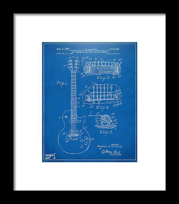 1955 Mccarty Gibson Les Paul Guitar Patent Artwork Blueprint Framed ...