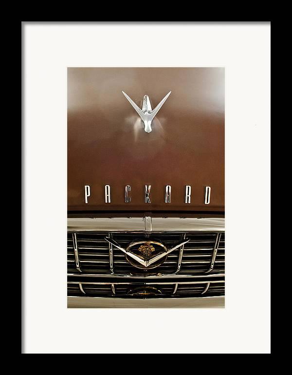1955 Packard 400 Framed Print featuring the photograph 1955 Packard 400 Hood Ornament by Jill Reger