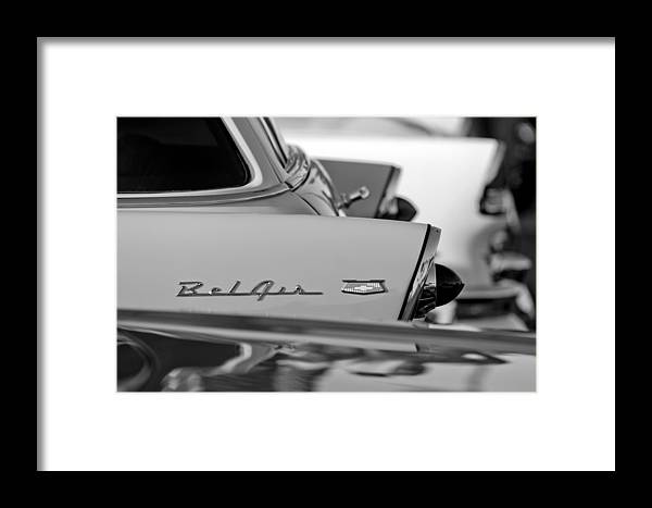 1956 Chevrolet Belair Nomad Rear End Emblem Framed Print featuring the photograph 1956 Chevrolet Belair Nomad Rear End Emblem by Jill Reger