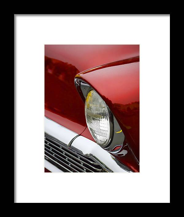 1956 Framed Print featuring the photograph 1956 Chevrolet Headlamp by Carol Leigh