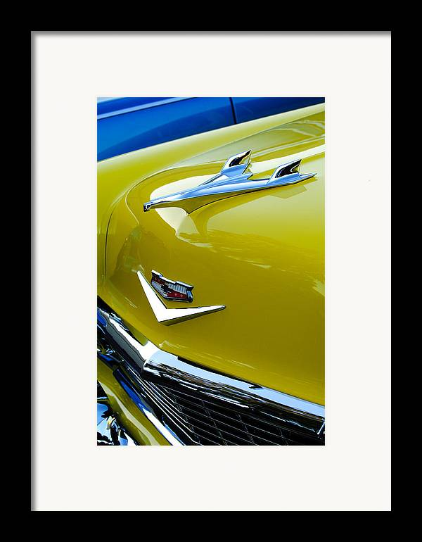 1956 Chevrolet Framed Print featuring the photograph 1956 Chevrolet Hood Ornament 3 by Jill Reger