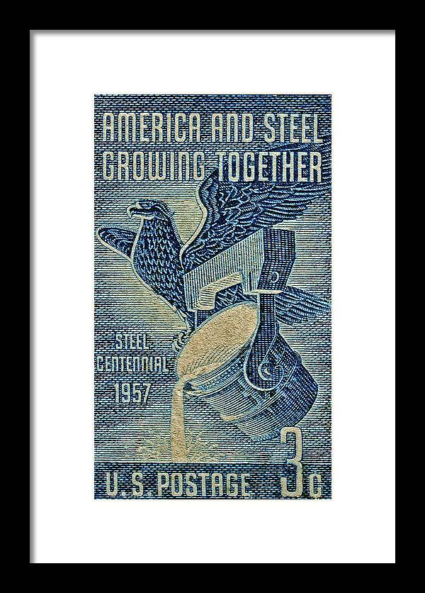 1957 Framed Print featuring the photograph 1957 America And Steel Growing Together Stamp by Bill Owen