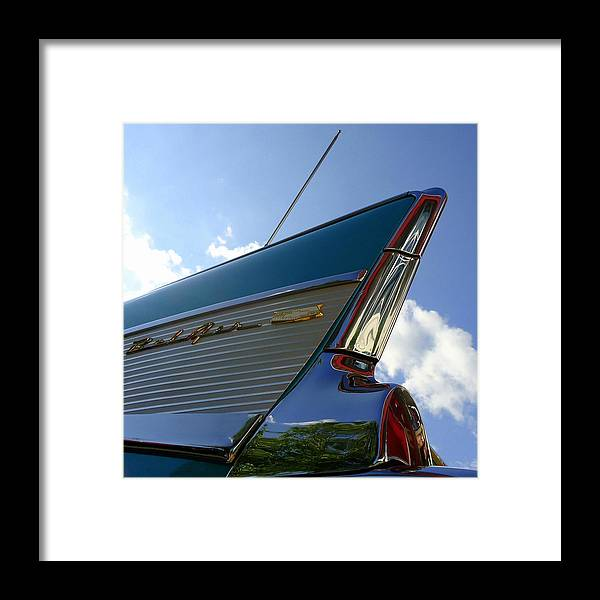 Joseph Skompski Framed Print featuring the photograph 1957 Chevrolet Bel Air Fin by Joseph Skompski