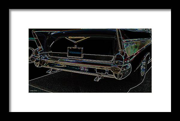 1957 Framed Print featuring the photograph 1957 Chevrolet Rear View Art Black_varooom Tag by Lesa Fine