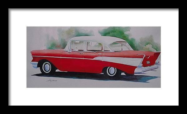 John Svenson Framed Print featuring the painting 1957 Chevy by John Svenson