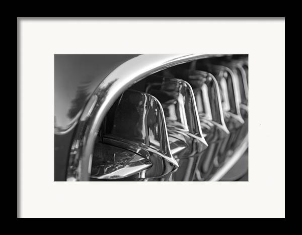 Transportation Framed Print featuring the photograph 1957 Corvette Grille Black And White by Jill Reger