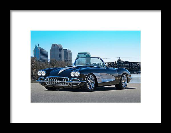 Auto Framed Print featuring the photograph 1958 Corvette With Skyline by Dave Koontz