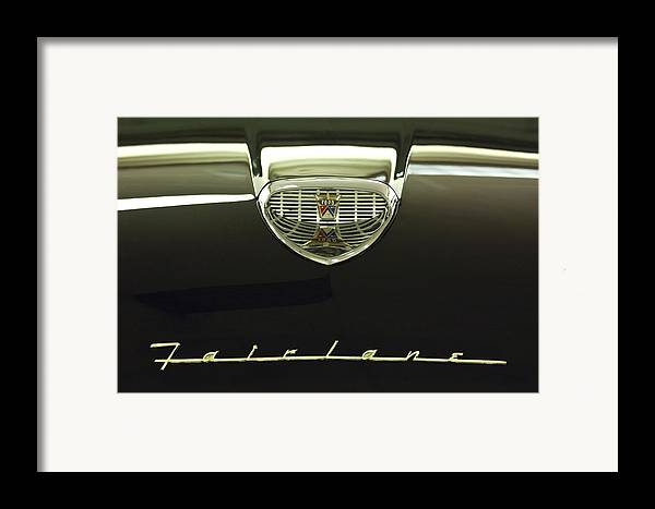 1958 Ford Fairlane 500 Victoria Tudor Hardtop Framed Print featuring the photograph 1958 Ford Fairlane 500 Victoria Hood Ornament by Jill Reger