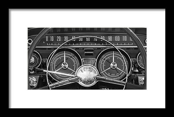 1959 Buick Lesabre Framed Print featuring the photograph 1959 Buick Lasabre Steering Wheel by Jill Reger