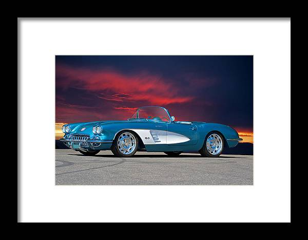 Auto Framed Print featuring the photograph 1959 Corvette Fuel Injected by Dave Koontz