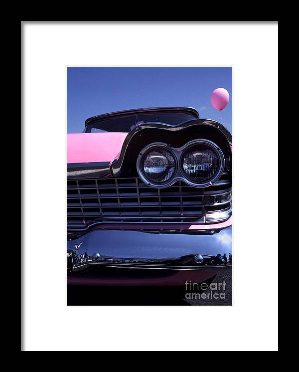 Plymouth Framed Print featuring the photograph 1959 Pink Plymouth Fury With Balloon by Anna Lisa Yoder