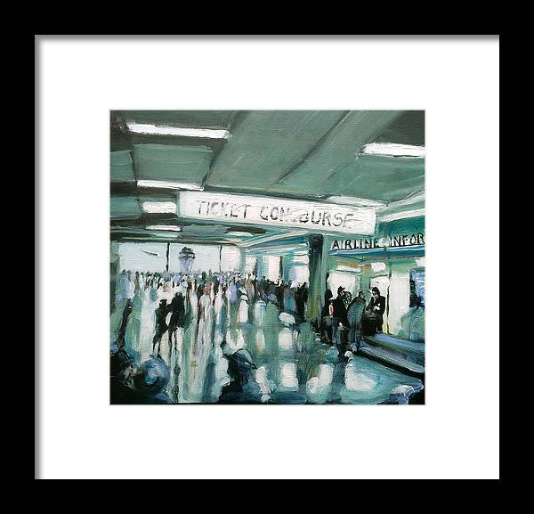 Airport Framed Print featuring the painting 1960's Airport by Paul Mitchell