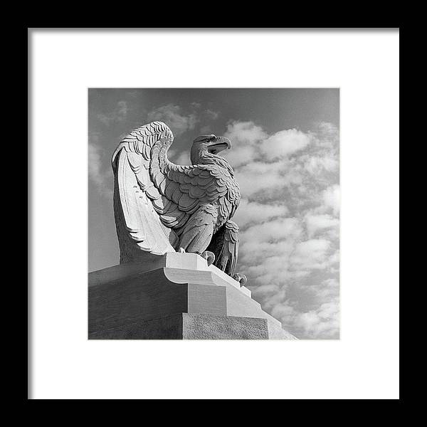Photography Framed Print featuring the photograph 1960s Eagle Statue Against Sky Clouds by Vintage Images