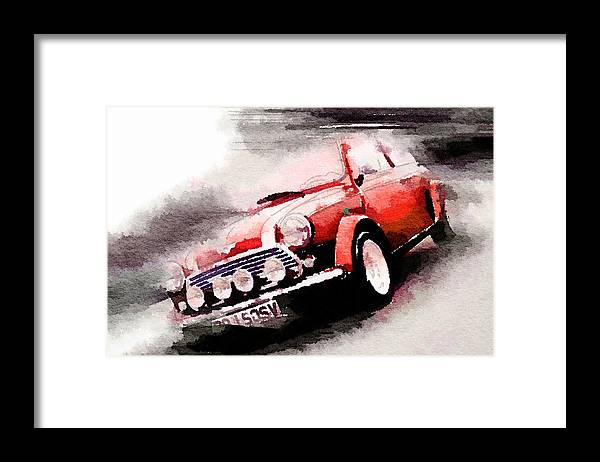 Austin Mini Cooper Framed Print featuring the painting 1963 Austin Mini Cooper Watercolor by Naxart Studio