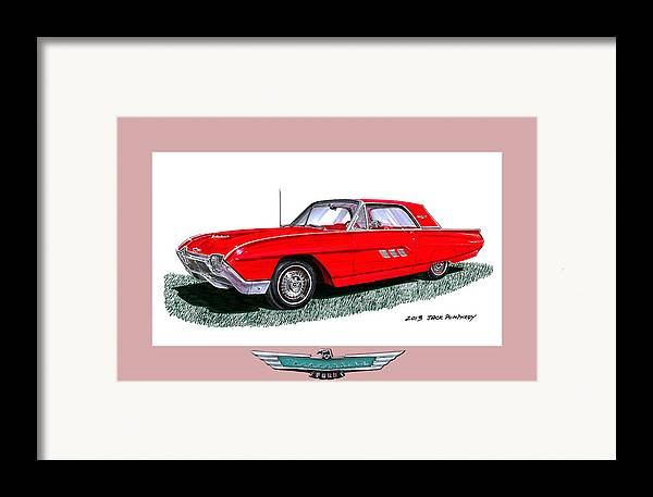 The 1963 Ford Thunderbird Is An American Automotive Icon First Introduced In 1955 Framed Print featuring the painting 1963 Ford Thunderbird by Jack Pumphrey