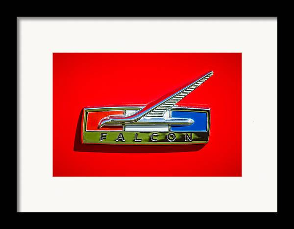 1964 Ford Falcon Emblem Framed Print featuring the photograph 1964 Ford Falcon Emblem by Jill Reger