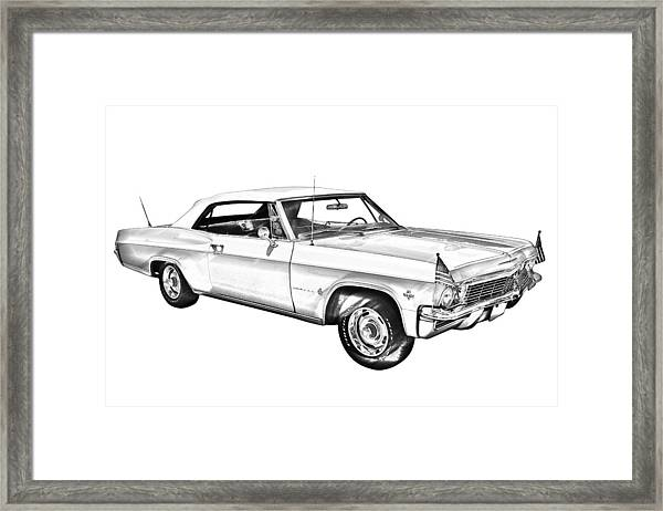 1965 chevy impala 327 convertible illuistration framed