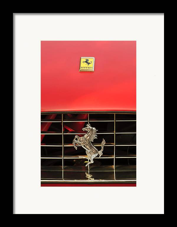 1966 Ferrari 330 Gtc Coupe Framed Print featuring the photograph 1966 Ferrari 330 Gtc Coupe Hood Ornament by Jill Reger