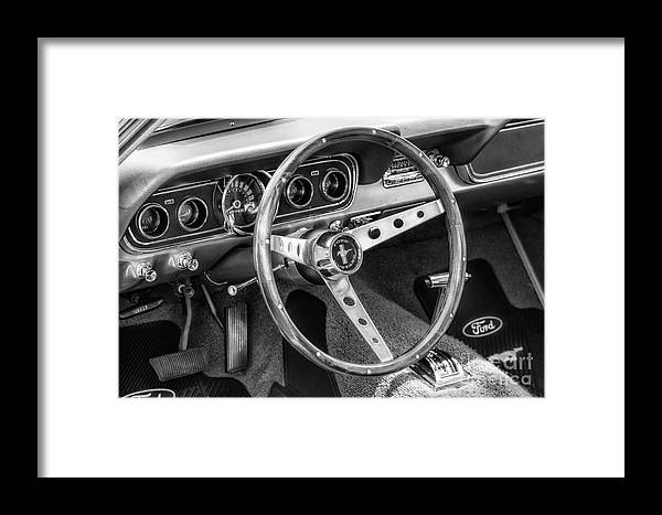 1966 Framed Print featuring the photograph 1966 Mustang Dashboard Bw by Jerry Fornarotto