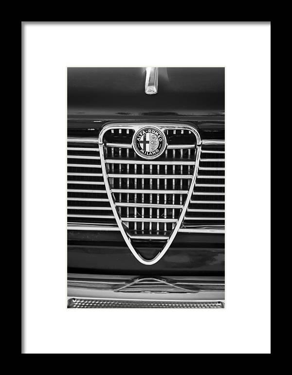 1967 Alfa Romeo Giulia Super Grille Emblem Framed Print featuring the photograph 1967 Alfa Romeo Giulia Super Grille Emblem -0730bw by Jill Reger