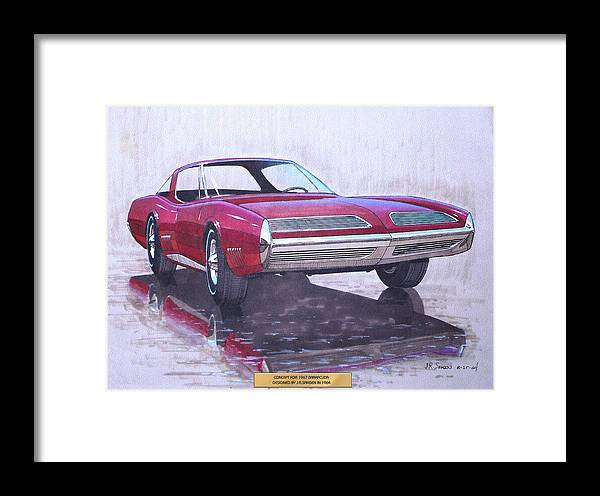 Car Concepts Framed Print featuring the drawing 1967 Barracuda Plymouth Vintage Styling Design Concept Rendering Sketch by John Samsen