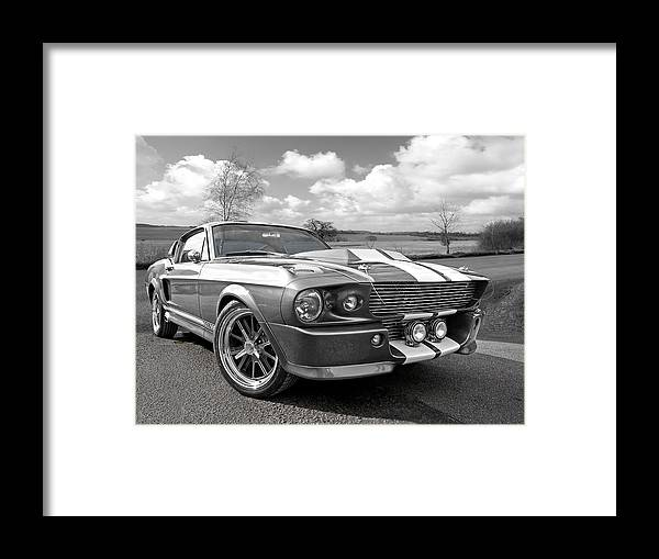 Ford Mustang Framed Print featuring the photograph 1967 Eleanor Mustang In Black And White 1967 by Gill Billington