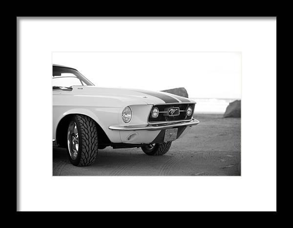1967 Mustang Fastback Photo Photographs Framed Print featuring the photograph 1967 Mustang Front In Black by Brooke Roby