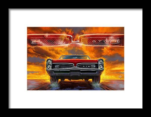 Sunset Framed Print featuring the digital art 1967 Pontiac Tempest Lemans Gto 1967 by Garth Glazier