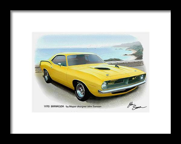 1970 Barracuda Classic Cuda Plymouth Muscle Car Sketch Rendering