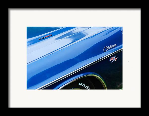 1970 Dodge Challenger Rt Convertible Emblems Framed Print featuring the photograph 1970 Dodge Challenger Rt Convertible Emblems by Jill Reger