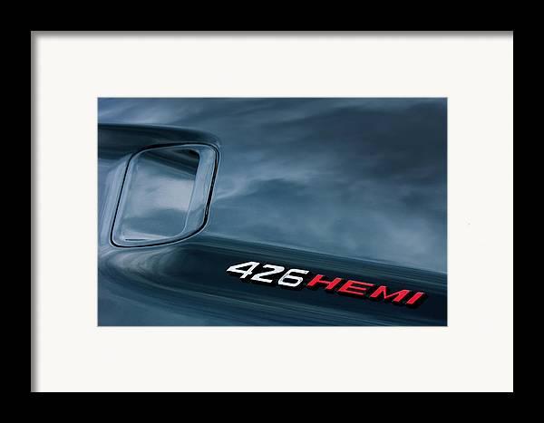 1971 Dodge Hemi Challenger Rt 426 Hemi Emblem Framed Print featuring the photograph 1971 Dodge Hemi Challenger Rt 426 Hemi Emblem by Jill Reger