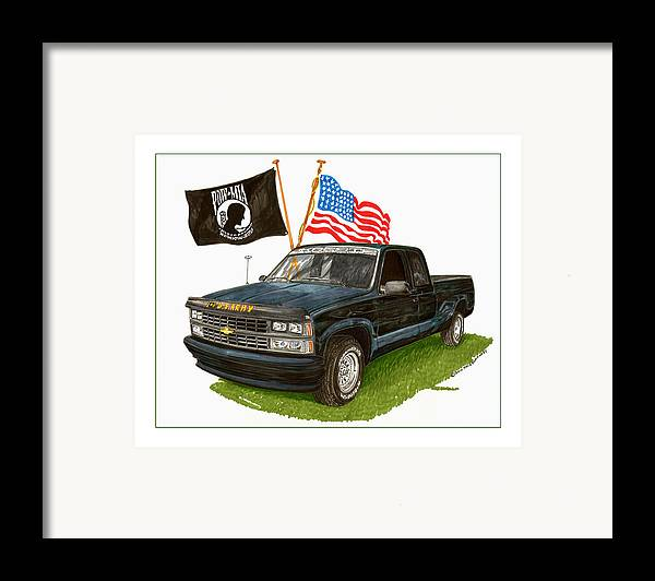 1988 Chevrolet Silverado Missing In Action Tribute Framed Print featuring the painting 1988 Chevrolet M I A Tribute by Jack Pumphrey
