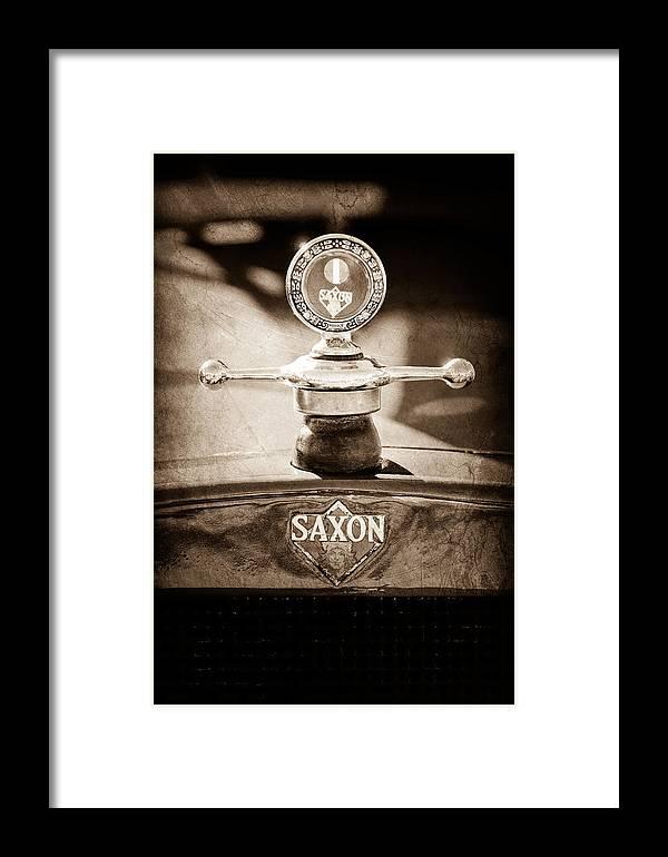 1915 Saxon Roadster Hood Ornament Framed Print featuring the photograph 1915 Saxon Roadster Hood Ornament by Jill Reger