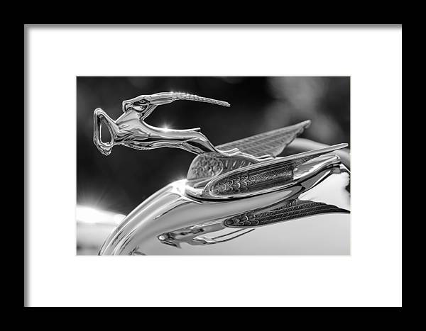 1933 Chrysler Imperial Framed Print featuring the photograph 1933 Chrysler Imperial Hood Ornament -0484bw by Jill Reger