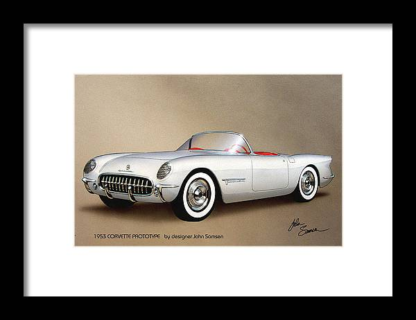 Automotive Art Framed Print featuring the painting 1953 CORVETTE classic vintage sports car automotive art by John Samsen