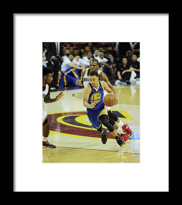 Description Framed Print featuring the photograph 2015 Nba Finals - Game Six by Noah Graham